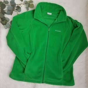 COLUMBIA 1X Bright Green Fleece Zip Sweater